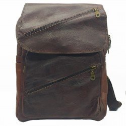 Riñonera de cuero artesanal color marrón oscuro .cremalleras diagonales al  frente portada 001